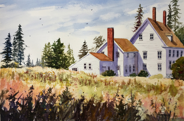 "lorrie herman ""cranberry isle cottage"" watercolor"