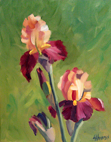 burgundy and gold oil lorrie herman