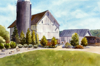 "Lorrie Herman - watercolor ""Sunny Side Barns"""