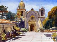 "Lorrie Herman - watercolor ""Carmel Mission"""