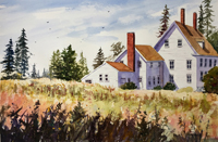 "Lorrie Herman - watercolor ""Cranberry Isle Cottage"""