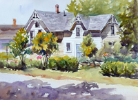 "Lorrie Herman - watercolor ""Home Sweet Holmes"""