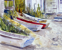 "Lorrie Herman - watercolor ""Fish Beach Dingies"""