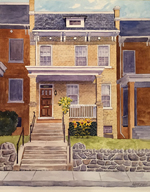 "Lorrie Herman - House Portrait ""DC Rowhome"" watercolor"