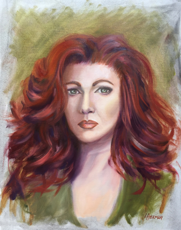 "Lorrie Herman ""Blaze"" oil portrait"