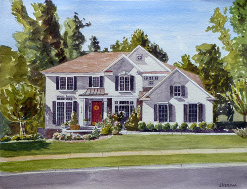 "Lorrie Herman - watercolor ""Chantilly House"""