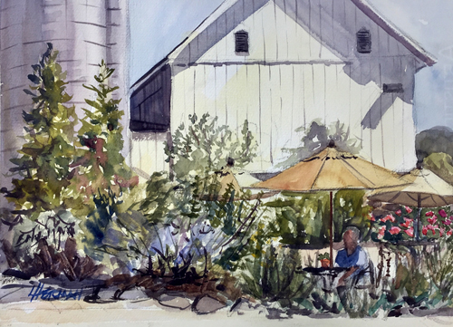 "Lorrie Herman - watercolor ""Wine Picnic"""