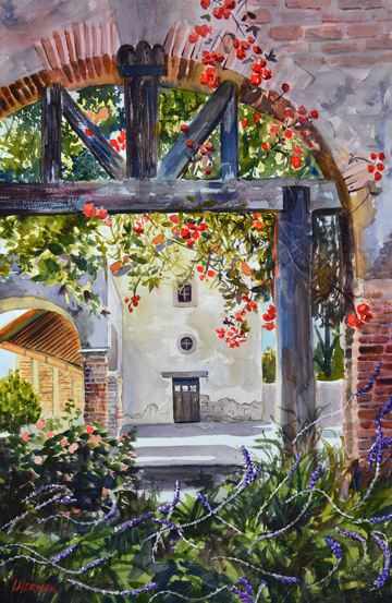 "lorrie herman ""Mission Arbor"" watercolor"