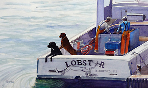 "Lorrie Herman - watercolor ""Lobstar Dogs"""