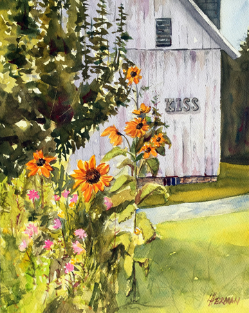 "lorrie herman ""Sunflower Kiss"" watercolor"